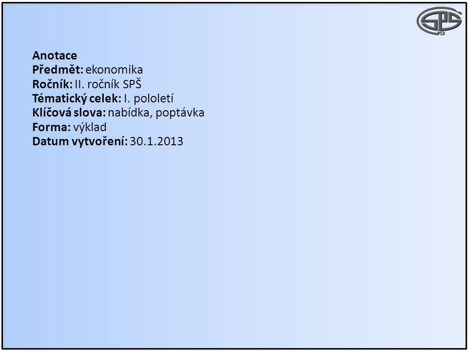 Anotace Předmět: ekonomika Ročník: II. ročník SPŠ Tématický celek: I. pololetí Klíčová slova: nabídka, poptávka Forma: výklad Datum vytvoření: 30.1.20