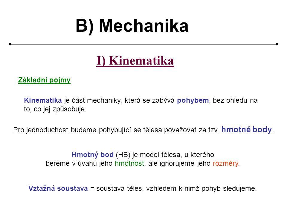 B) Mechanika I) Kinematika Základní pojmy Kinematika je část mechaniky, která se zabývá pohybem, bez ohledu na to, co jej způsobuje.