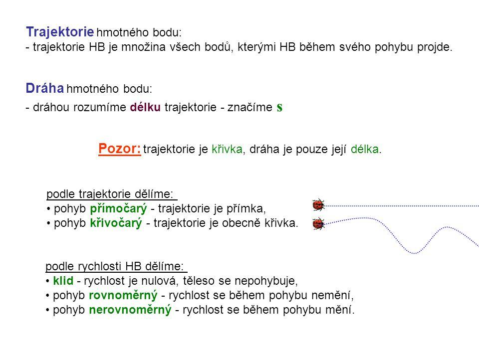 Trajektorie hmotného bodu: - trajektorie HB je množina všech bodů, kterými HB během svého pohybu projde.
