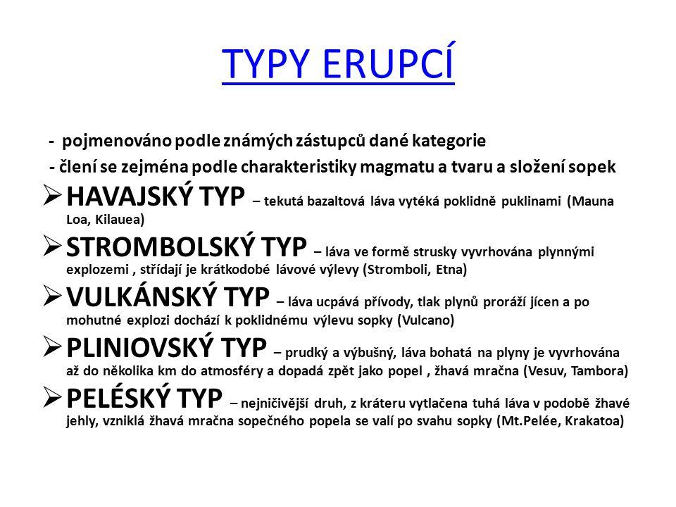 TYPY ERUPCÍ - pojmenováno podle známých zástupců dané kategorie - člení se zejména podle charakteristiky magmatu a tvaru a složení sopek  HAVAJSKÝ TY