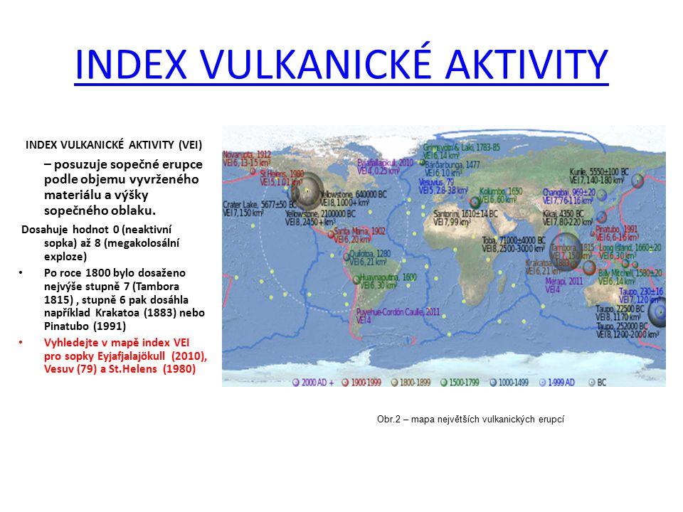 INDEX VULKANICKÉ AKTIVITY INDEX VULKANICKÉ AKTIVITY (VEI) – posuzuje sopečné erupce podle objemu vyvrženého materiálu a výšky sopečného oblaku. Dosahu