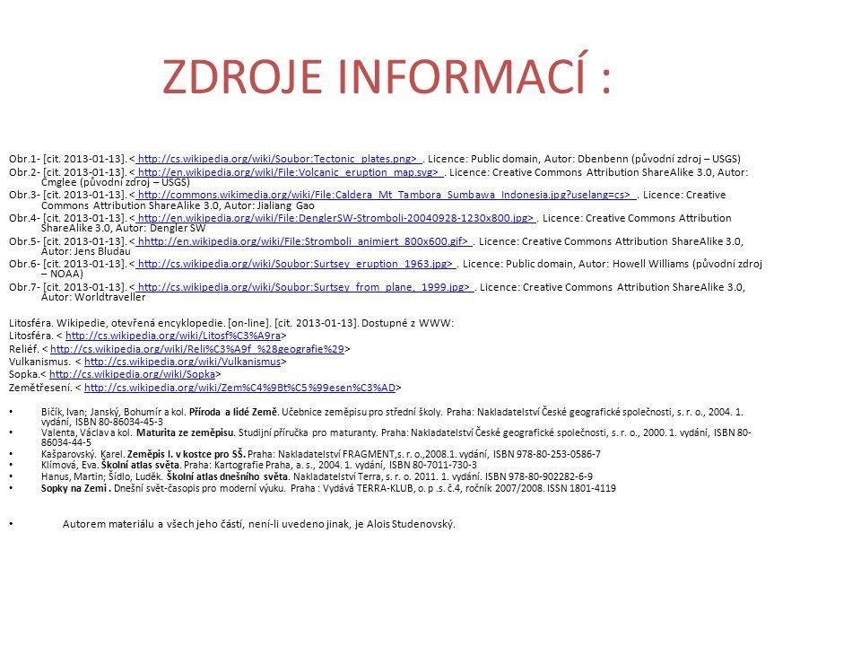 ZDROJE INFORMACÍ : Obr.1- [cit. 2013-01-13].. Licence: Public domain, Autor: Dbenbenn (původní zdroj – USGS)http://cs.wikipedia.org/wiki/Soubor:Tecton