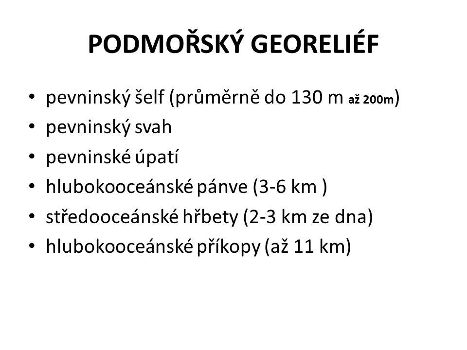 PODMOŘSKÝ GEORELIÉF pevninský šelf (průměrně do 130 m až 200m ) pevninský svah pevninské úpatí hlubokooceánské pánve (3-6 km ) středooceánské hřbety (