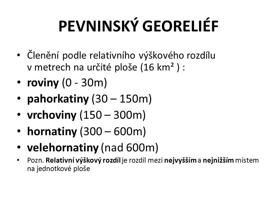 PEVNINSKÝ GEORELIÉF Členění podle relativního výškového rozdílu v metrech na určité ploše (16 km² ) : roviny (0 - 30m) pahorkatiny (30 – 150m) vrchovi