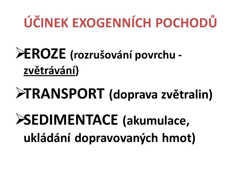 ÚČINEK EXOGENNÍCH POCHODŮ  EROZE (rozrušování povrchu - zvětrávání)  TRANSPORT (doprava zvětralin)  SEDIMENTACE (akumulace, ukládání dopravovaných