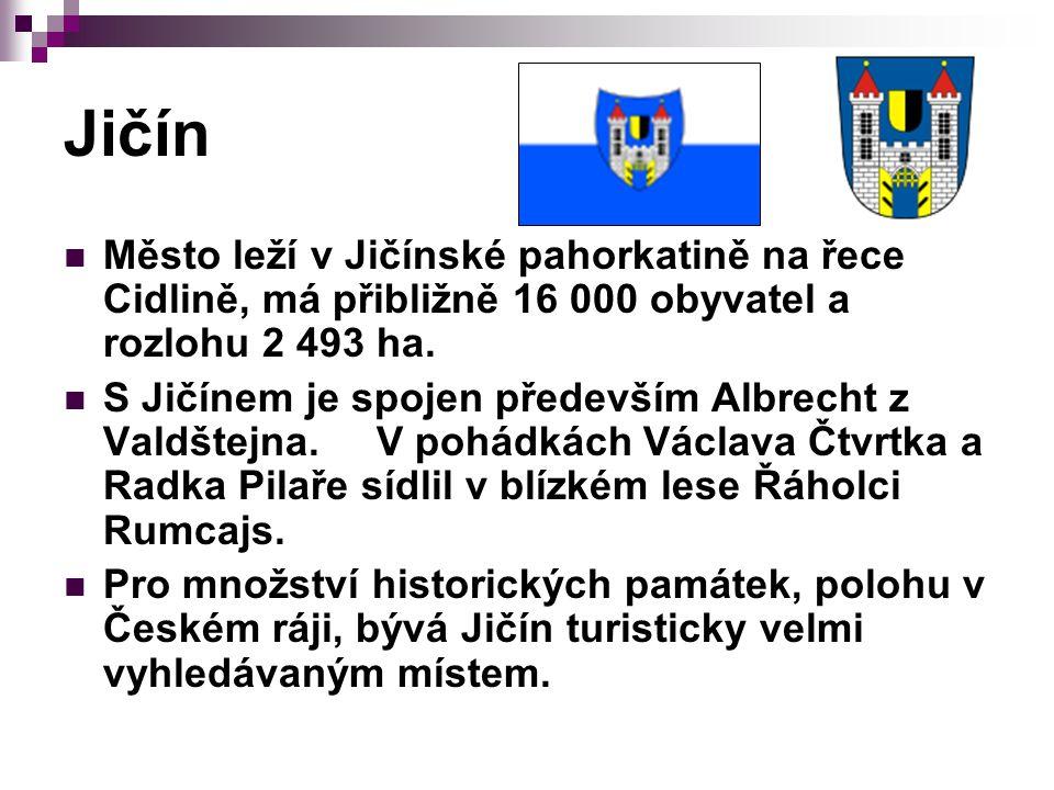 Jičín Město leží v Jičínské pahorkatině na řece Cidlině, má přibližně 16 000 obyvatel a rozlohu 2 493 ha.