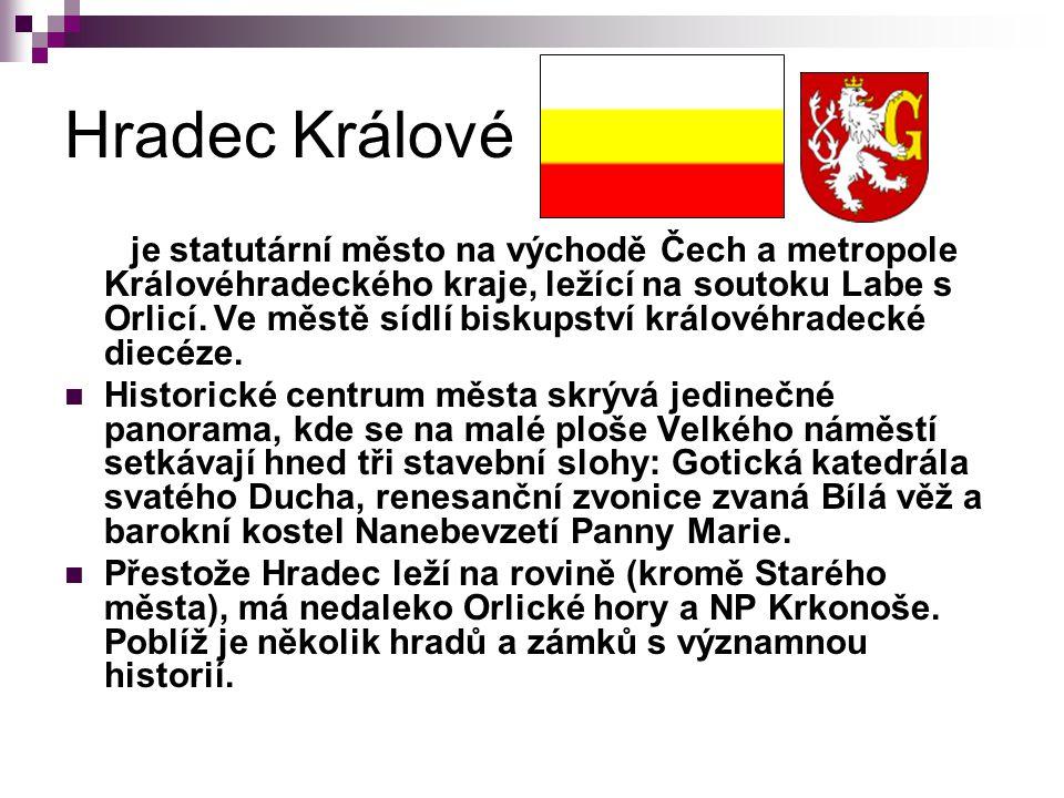 Hradec Králové je statutární město na východě Čech a metropole Královéhradeckého kraje, ležící na soutoku Labe s Orlicí.
