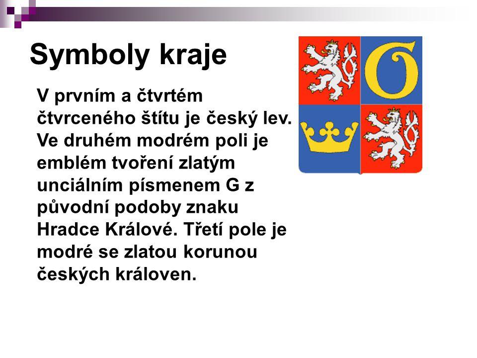 Symboly kraje V prvním a čtvrtém čtvrceného štítu je český lev.