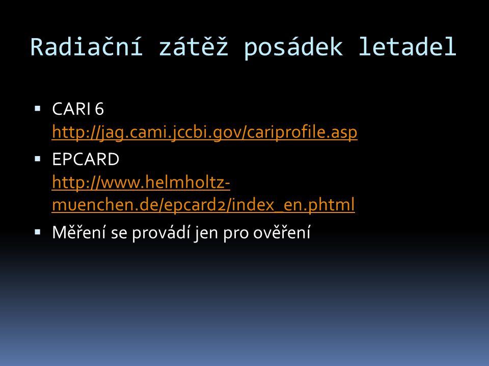 Radiační zátěž posádek letadel  CARI 6 http://jag.cami.jccbi.gov/cariprofile.asp http://jag.cami.jccbi.gov/cariprofile.asp  EPCARD http://www.helmho