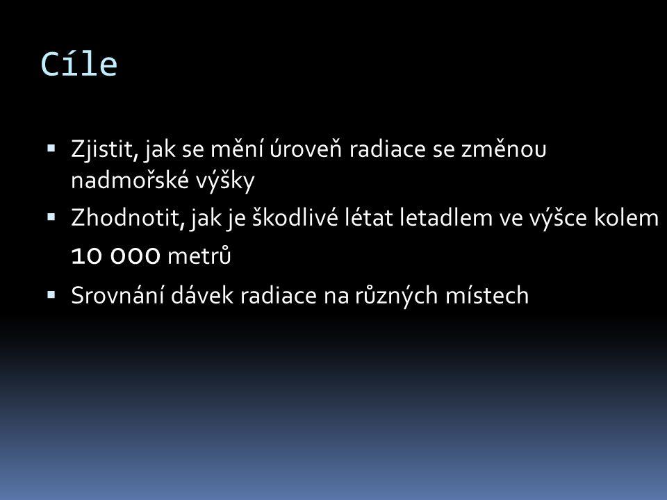 Cíle  Zjistit, jak se mění úroveň radiace se změnou nadmořské výšky  Zhodnotit, jak je škodlivé létat letadlem ve výšce kolem 10 000 metrů  Srovnán