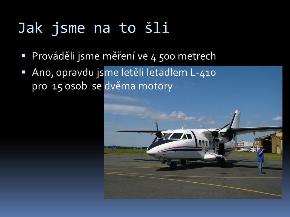 Jak jsme na to šli  Prováděli jsme měření ve 4 500 metrech  Ano, opravdu jsme letěli letadlem L-410 pro 15 osob se dvěma motory