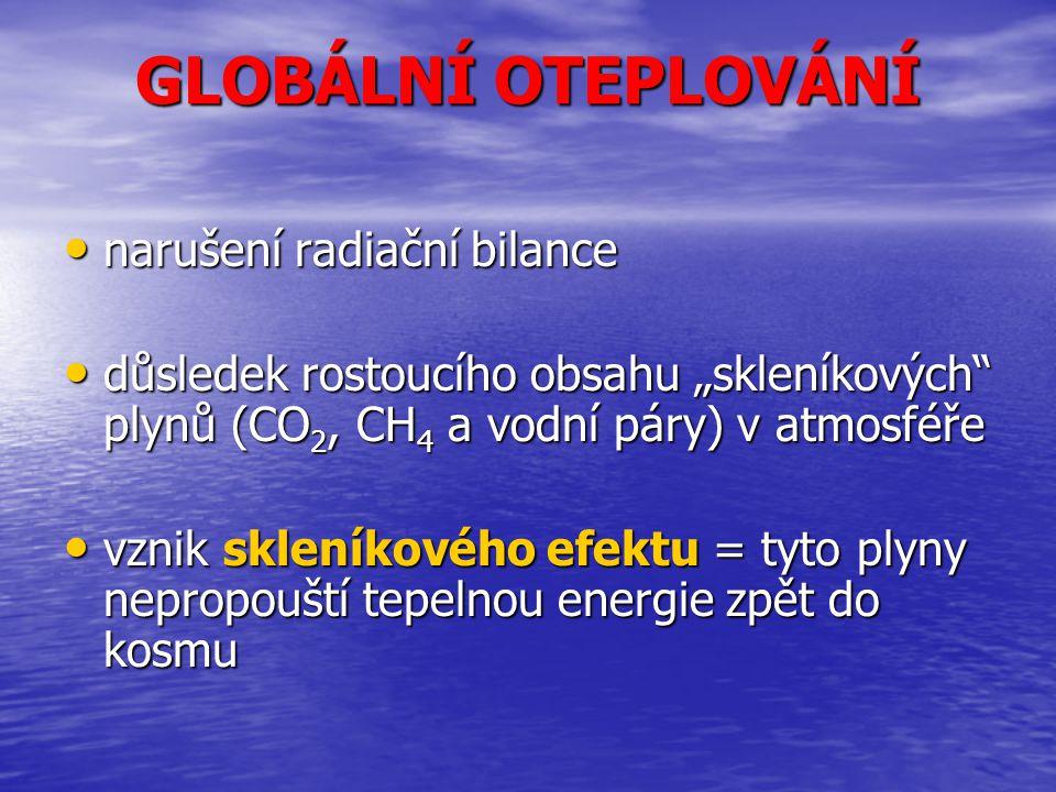 """GLOBÁLNÍ OTEPLOVÁNÍ narušení radiační bilance narušení radiační bilance důsledek rostoucího obsahu """"skleníkových"""" plynů (CO 2, CH 4 a vodní páry) v at"""