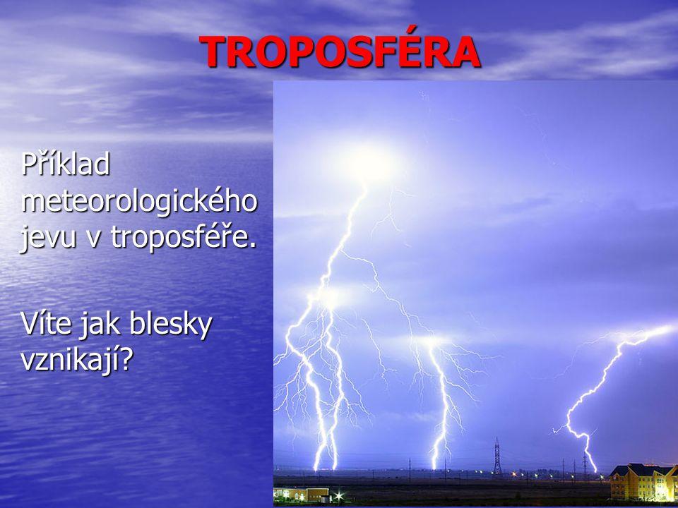 TROPOSFÉRA Příklad meteorologického jevu v troposféře. Víte jak blesky vznikají?