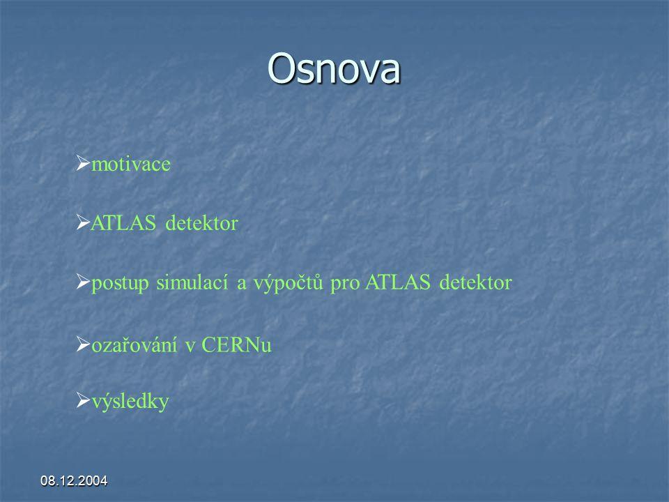 08.12.2004 Osnova  ozařování v CERNu  postup simulací a výpočtů pro ATLAS detektor  motivace  ATLAS detektor  výsledky