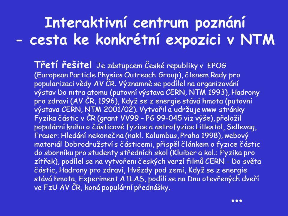 Interaktivní centrum poznání - cesta ke konkrétní expozici v NTM Třetí řešitel Je zástupcem České republiky v EPOG (European Particle Physics Outreach Group), členem Rady pro popularizaci vědy AV ČR.