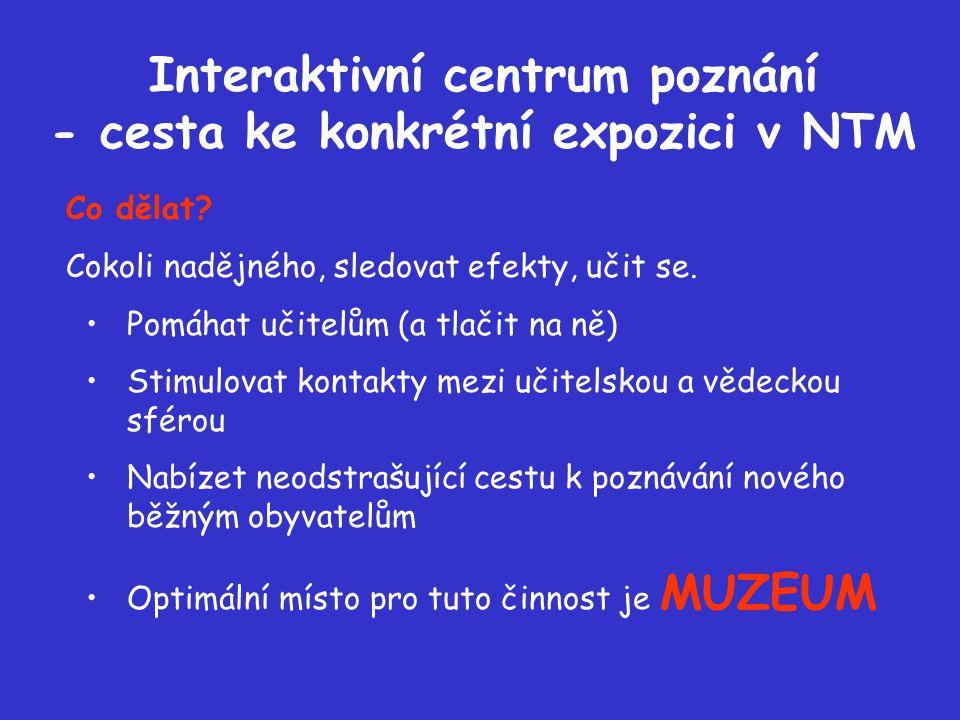 Interaktivní centrum poznání - cesta ke konkrétní expozici v NTM Co dělat.