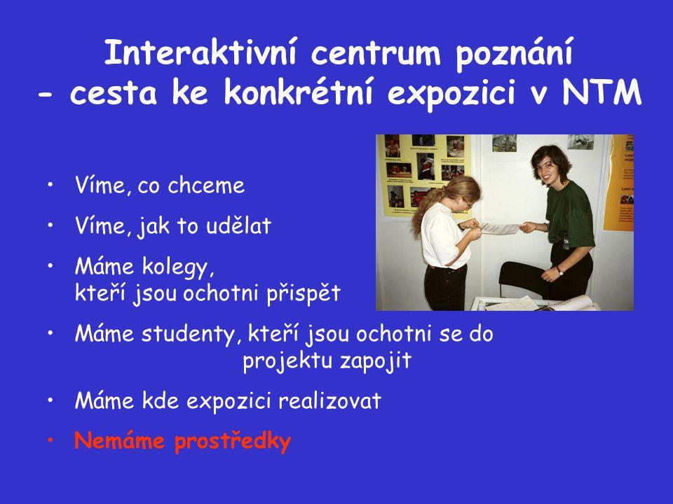 Interaktivní centrum poznání - cesta ke konkrétní expozici v NTM Nečekáme se založenýma rukama, požádali jsme o první grant z Programu na podporu výzkumu a vývoje MŠMT, speciálně programu LP Zpřístupňování výsledků výzkumu a vývoje české veřejnosti na část expozice ICP - expozici Co je věda a co přináší věnovanou nenásilné a hravé cestě k představě, co je věda, kde a za jakých podmínek pracují čeští vědci, jaké výsledky mají a k čemu je to dobré.