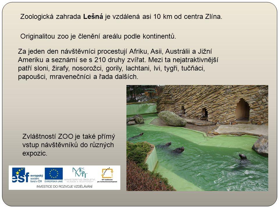 Zoologická zahrada Lešná je vzdálená asi 10 km od centra Zlína. Za jeden den návštěvníci procestují Afriku, Asii, Austrálii a Jižní Ameriku a seznámí