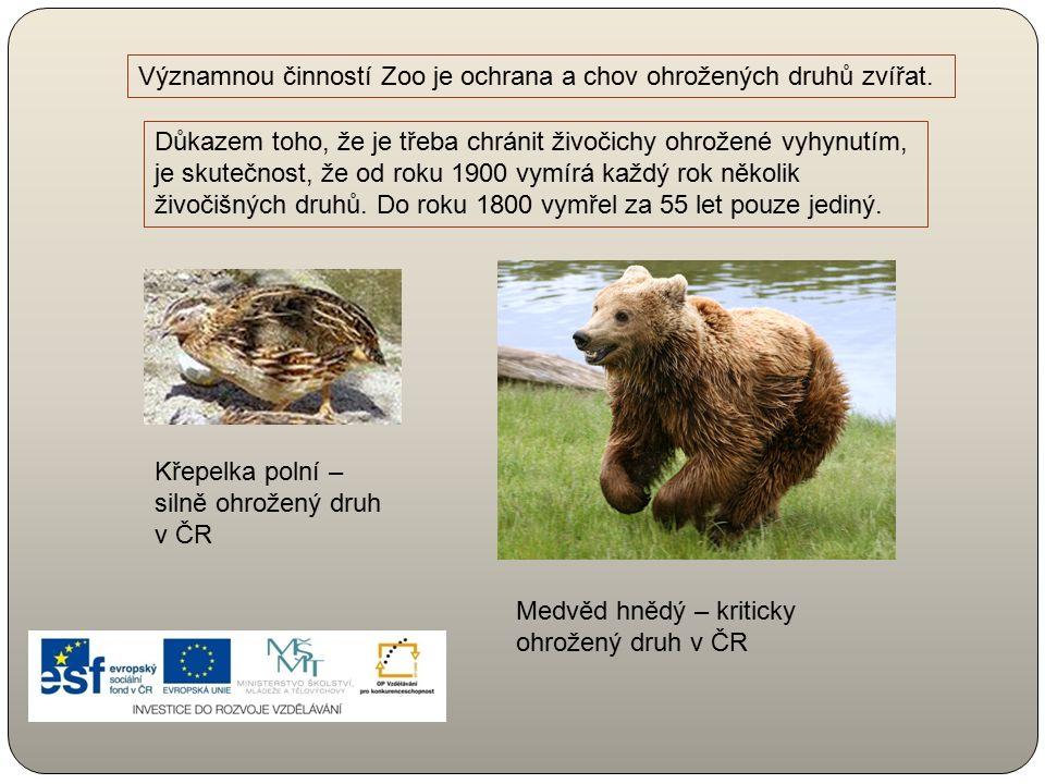 Významnou činností Zoo je ochrana a chov ohrožených druhů zvířat. Důkazem toho, že je třeba chránit živočichy ohrožené vyhynutím, je skutečnost, že od