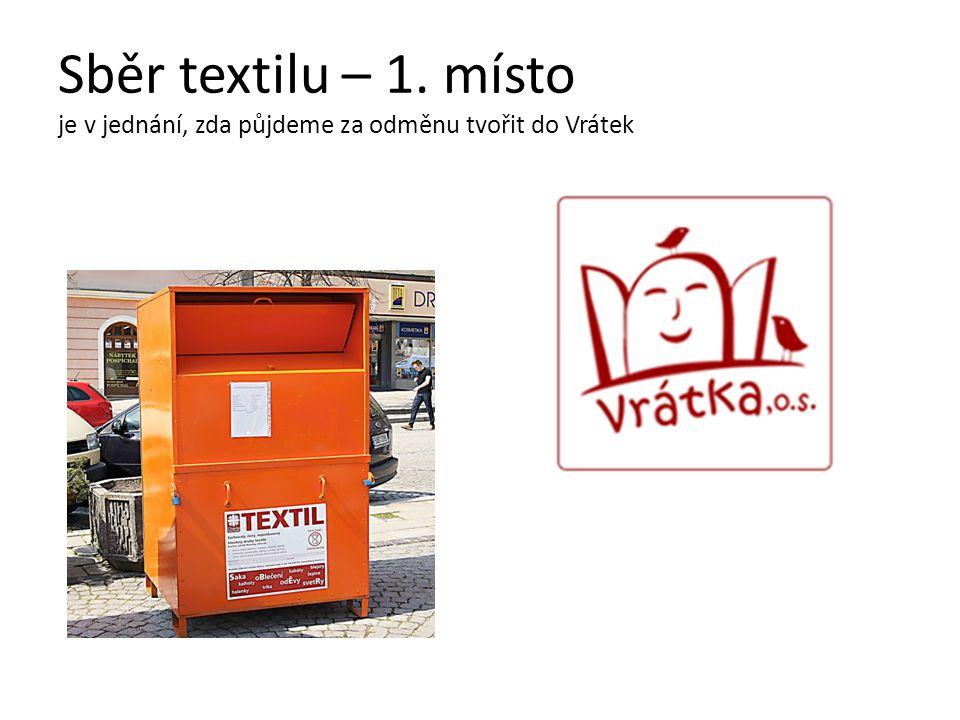 Sběr textilu – 1. místo je v jednání, zda půjdeme za odměnu tvořit do Vrátek