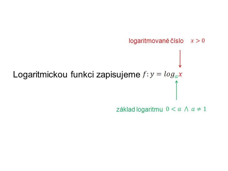 Logaritmickou funkci zapisujeme logaritmované číslo základ logaritmu