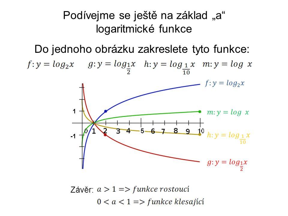 """1 Závěr: Do jednoho obrázku zakreslete tyto funkce: Podívejme se ještě na základ """"a"""" logaritmické funkce"""