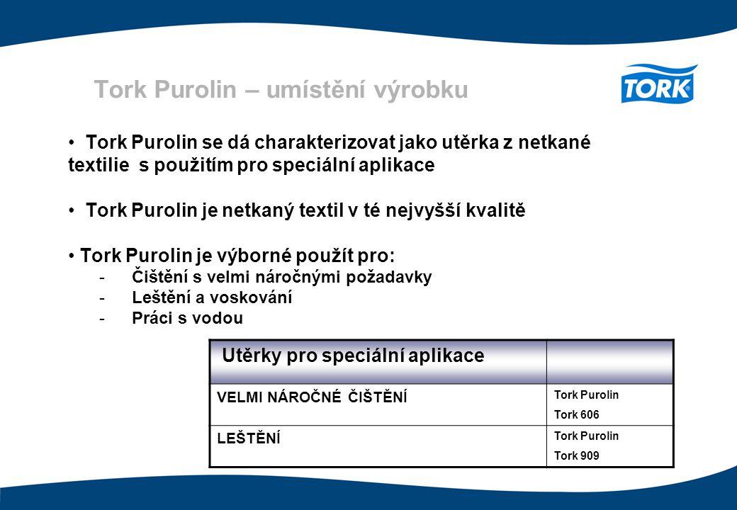 Tork Purolin – umístění výrobku Utěrky pro speciální aplikace VELMI NÁROČNÉ ČIŠTĚNÍ Tork Purolin Tork 606 LEŠTĚNÍ Tork Purolin Tork 909 Tork Purolin s