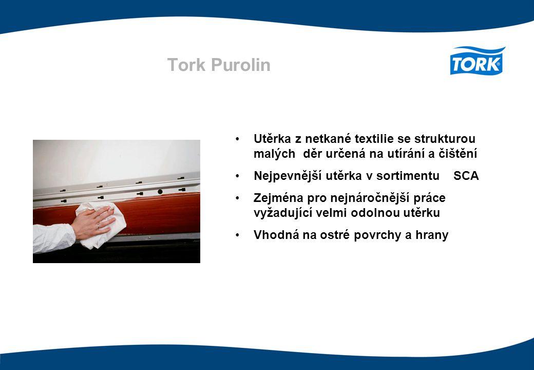 Tork Purolin 75 g/m 2 Utěrka z netkané textilie se strukturou malých děr určená na utírání a čištění Nejpevnější utěrka v sortimentu SCA Zejména pro n