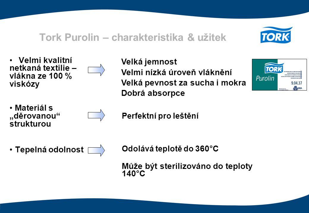 """Tork Purolin – charakteristika & užitek Velmi kvalitní netkaná textilie – vlákna ze 100 % viskózy Materiál s """"děrovanou"""" strukturou Tepelná odolnost V"""