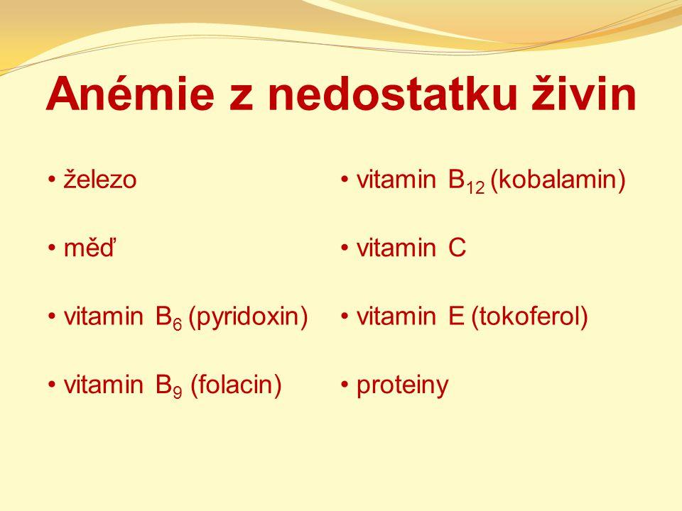 Anémie z nedostatku živin železo vitamin B 12 (kobalamin) měď vitamin C vitamin B 6 (pyridoxin) vitamin E (tokoferol) vitamin B 9 (folacin) proteiny