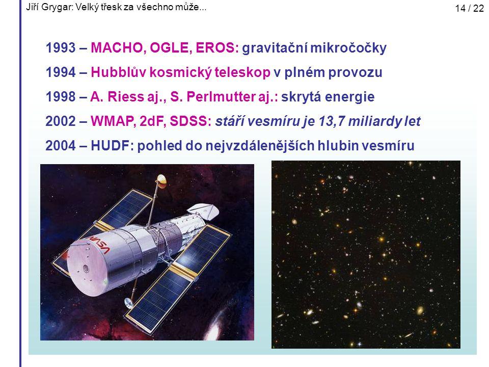 Jiří Grygar: Velký třesk za všechno může... 14 / 22 1993 – MACHO, OGLE, EROS: gravitační mikročočky 1994 – Hubblův kosmický teleskop v plném provozu 1