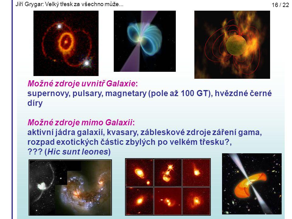 Jiří Grygar: Velký třesk za všechno může... 16 / 22 Možné zdroje uvnitř Galaxie: supernovy, pulsary, magnetary (pole až 100 GT), hvězdné černé díry Mo