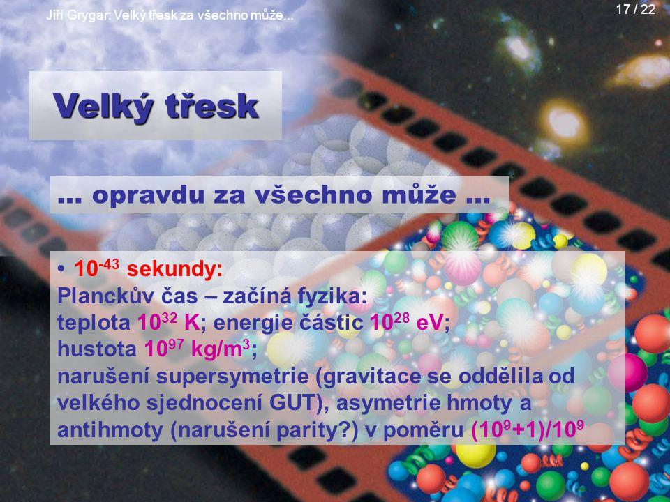 Jiří Grygar: Velký třesk za všechno může... 17 / 22 … opravdu za všechno může … 10 -43 sekundy: Planckův čas – začíná fyzika: teplota 10 32 K; energie
