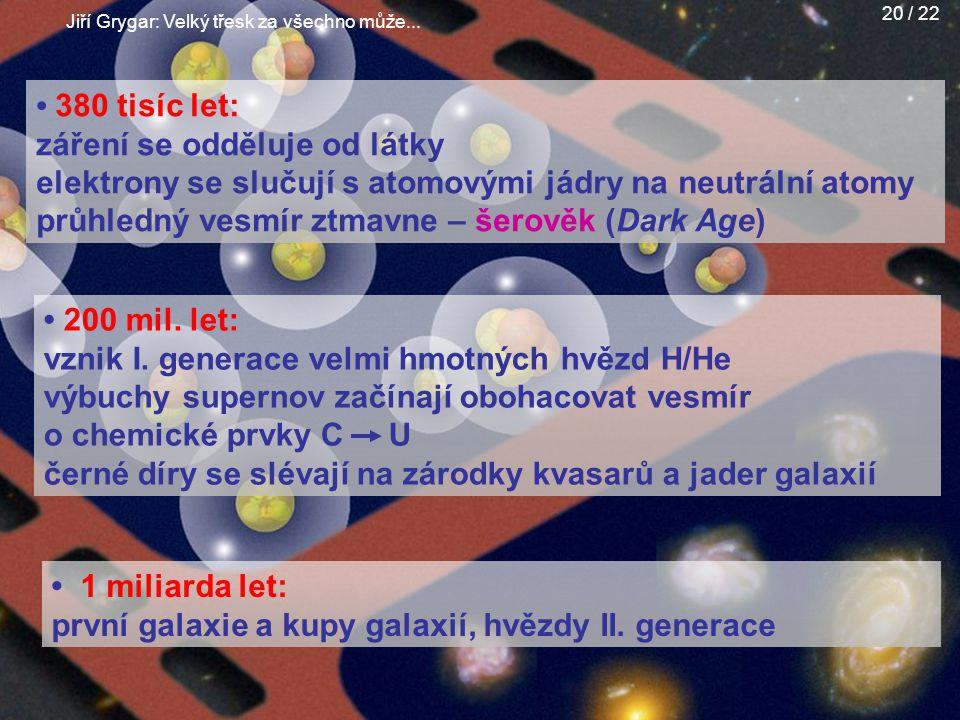 Jiří Grygar: Velký třesk za všechno může... 20 / 22 380 tisíc let: záření se odděluje od látky elektrony se slučují s atomovými jádry na neutrální ato