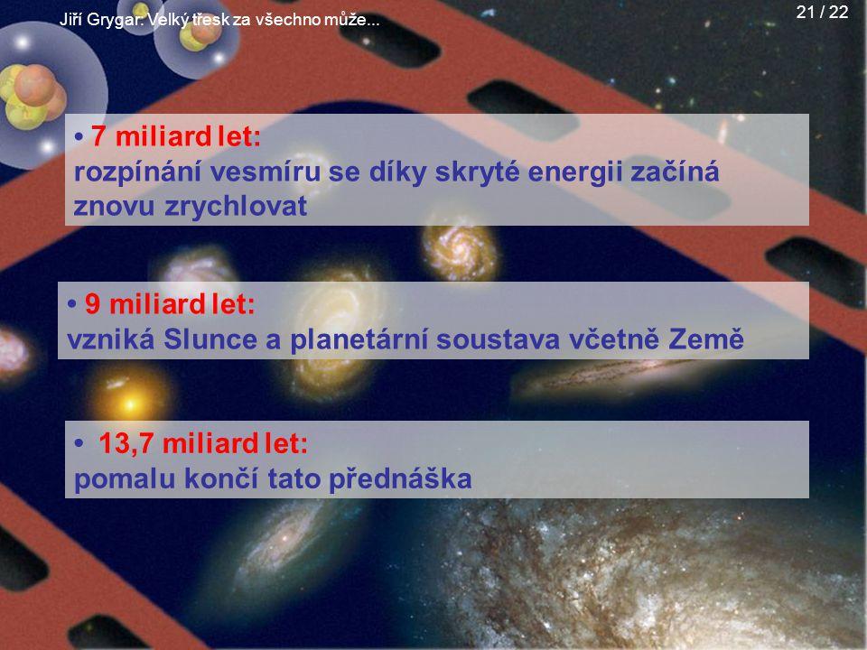 Jiří Grygar: Velký třesk za všechno může... 21 / 22 7 miliard let: rozpínání vesmíru se díky skryté energii začíná znovu zrychlovat 13,7 miliard let:
