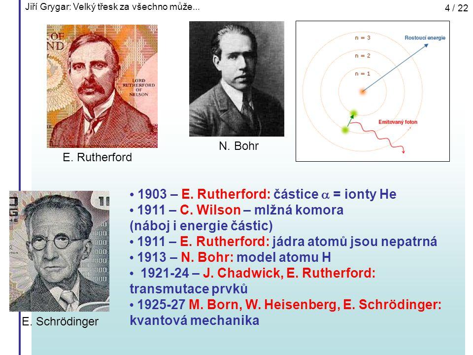 Jiří Grygar: Velký třesk za všechno může... 4 / 22 1903 – E. Rutherford: částice  = ionty He 1911 – C. Wilson – mlžná komora (náboj i energie částic)