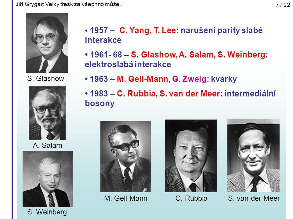 Jiří Grygar: Velký třesk za všechno může... 7 / 22 1957 – C. Yang, T. Lee: narušení parity slabé interakce 1961- 68 – S. Glashow, A. Salam, S. Weinber