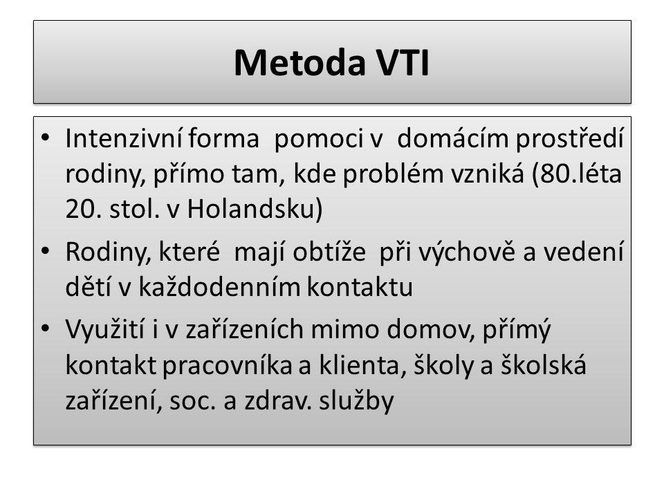 Metoda VTI Intenzivní forma pomoci v domácím prostředí rodiny, přímo tam, kde problém vzniká (80.léta 20.