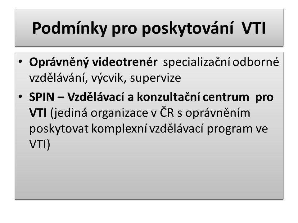 Podmínky pro poskytování VTI Oprávněný videotrenér specializační odborné vzdělávání, výcvik, supervize SPIN – Vzdělávací a konzultační centrum pro VTI (jediná organizace v ČR s oprávněním poskytovat komplexní vzdělávací program ve VTI) Oprávněný videotrenér specializační odborné vzdělávání, výcvik, supervize SPIN – Vzdělávací a konzultační centrum pro VTI (jediná organizace v ČR s oprávněním poskytovat komplexní vzdělávací program ve VTI)