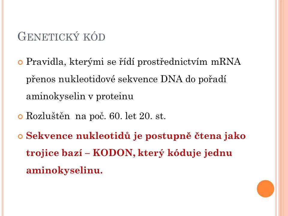 G ENETICKÝ KÓD Pravidla, kterými se řídí prostřednictvím mRNA přenos nukleotidové sekvence DNA do pořadí aminokyselin v proteinu Rozluštěn na poč. 60.