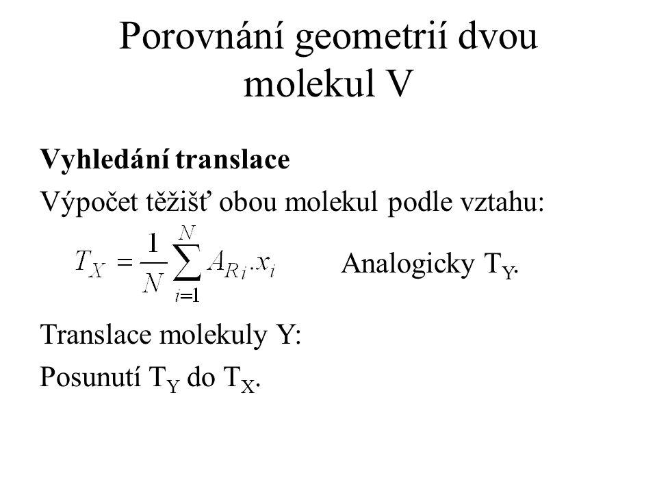 Porovnání geometrií dvou molekul V Vyhledání translace Výpočet těžišť obou molekul podle vztahu: Translace molekuly Y: Posunutí T Y do T X. Analogicky