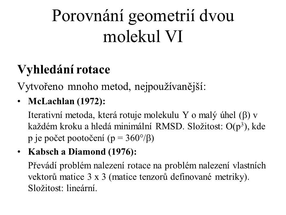 Porovnání geometrií dvou molekul VI Vyhledání rotace Vytvořeno mnoho metod, nejpoužívanější: McLachlan (1972): Iterativní metoda, která rotuje molekul