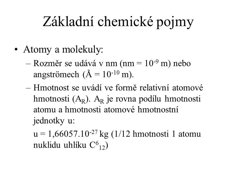 Základní chemické pojmy Atomy - příklad: Uhlík: Poloměr: 0,77 Å; relativní atomová hmotnost: 12,011 Molekula: –Rozměry: jednotky - stovky Å (u makromolekul i podstatně více) –Hmotnost: Součet hmotností atomů :-)