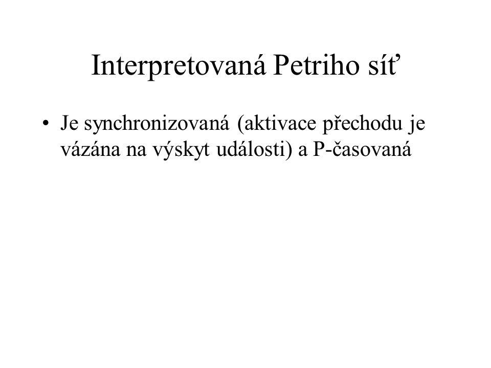 Interpretovaná Petriho síť Je synchronizovaná (aktivace přechodu je vázána na výskyt události) a P-časovaná