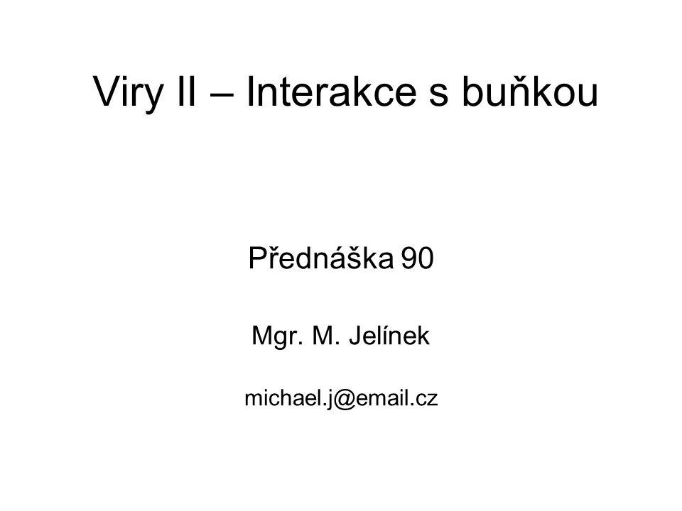 Viry II – Interakce s buňkou Přednáška 90 Mgr. M. Jelínek michael.j@email.cz