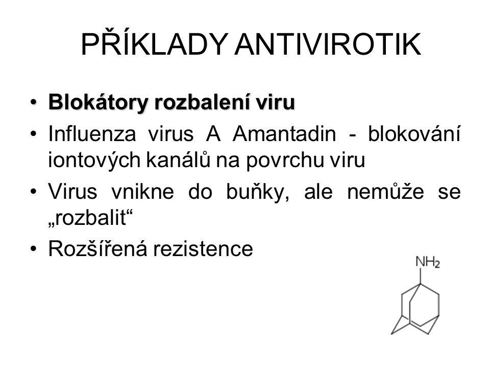 Blokátory rozbalení viruBlokátory rozbalení viru Influenza virus A Amantadin - blokování iontových kanálů na povrchu viru Virus vnikne do buňky, ale n