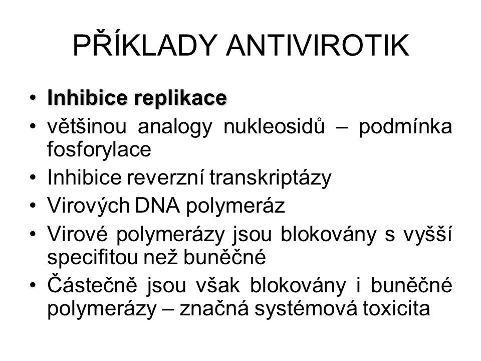 Inhibice replikaceInhibice replikace většinou analogy nukleosidů – podmínka fosforylace Inhibice reverzní transkriptázy Virových DNA polymeráz Virové polymerázy jsou blokovány s vyšší specifitou než buněčné Částečně jsou však blokovány i buněčné polymerázy – značná systémová toxicita