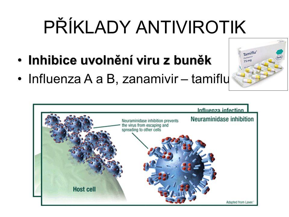 PŘÍKLADY ANTIVIROTIK Inhibice uvolnění viru z buněkInhibice uvolnění viru z buněk Influenza A a B, zanamivir – tamiflu