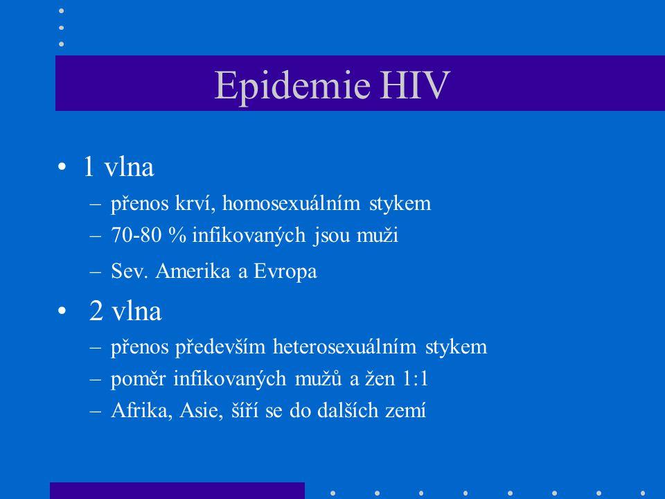 Epidemie HIV 1 vlna –přenos krví, homosexuálním stykem –70-80 % infikovaných jsou muži –Sev. Amerika a Evropa 2 vlna –přenos především heterosexuálním