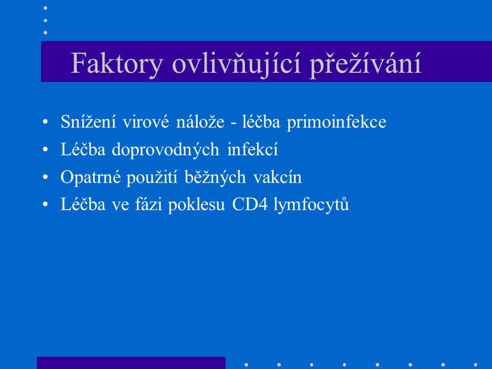 Faktory ovlivňující přežívání Snížení virové nálože - léčba primoinfekce Léčba doprovodných infekcí Opatrné použití běžných vakcín Léčba ve fázi pokle